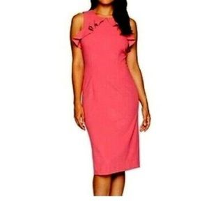 Ivanka Trump Ruffle Sheath Sleeveless Dress.
